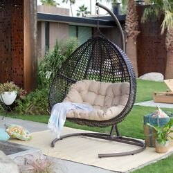 Outdoor 2 Person Hanging Egg Swing Chair Stand Wicker Patio Garden Furniture