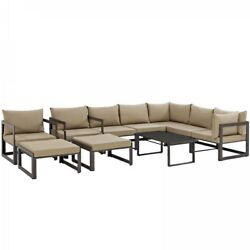 Modway EEI-1720-BRN-MOC-SET Fortuna 10 Piece Outdoor Patio Sectional Sofa Set In