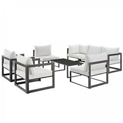 Modway EEI-1725-BRN-WHI-SET Fortuna 8 Piece Outdoor Patio Sectional Sofa Set In