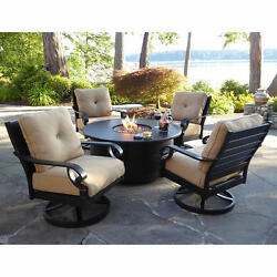 5-pc PATIO FIRE PIT CHAT SET Oversize Rocker Swivel Chairs WHITE GLOVE DELIVERY
