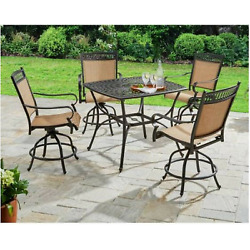 Outdoor Dining Set 5 Piece Height High Chairs Table Patio Garden Furniture Deck