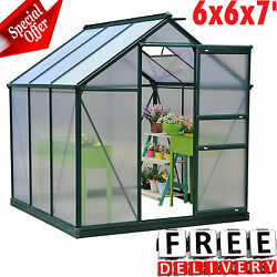 Greenhouse Kit 6x6x7' Portable Walk In Polycarbonate Panel Outdoor Garden Plant
