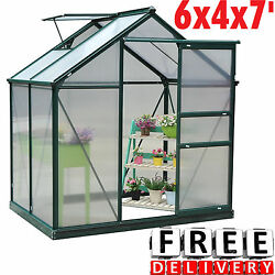 Greenhouse Kit 6x4x7' Portable Walk In Polycarbonate Panel Plant Outdoor Garden
