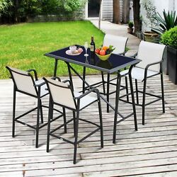 Patio Counter Dining Table Height Outdoor Bar 5 Piece Table And Chairs Furniture