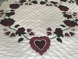 NEW Amish Applique Quilt - Country Roses in burgundy blue and green Stunning!!