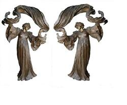 FINE PAIR OF PATINAED BRONZE LAMPS WOMAN HOLDING SCARF DANCING A. LEONAR