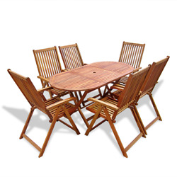 7PCS Patio Dining Room Sets Solid Wood Outdoor Garden Yard Furniture Seats 6