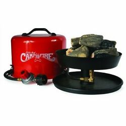Portable Camp Fire Pit Ring Burner Propane Gas Patio Outdoor Deck Hose Log RV