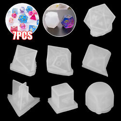 7Pcs DIY Crystal Epoxy Molds Dice Digital Game Silicone Triangle Moulds Set $11.48
