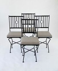 Mid Century Modern Dining Swivel Chairs Patio Outside Geometric American Vintage