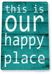 Happy Place Kitchen Beach Cottage Farm Rustic Metal Decor Tin Sign B823 $9.25