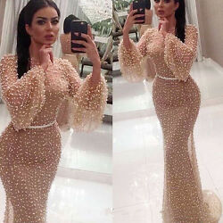 Sexy Long Party Prom Evening Dress Pearls Mermaid Formal Celebrity Pageant Gown $146.00