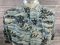 Field & Stream Mens Hawaiian Palm Tree 100% Silk SS Bttn Down Casual Shirt XL