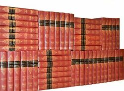 Vintage Old Books for Home Library Decor Red Gold Gilt Harvard Classics Complete