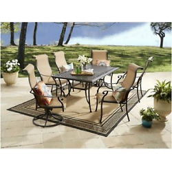 Aluminum Dining Set Chairs Table Outdoor Patio Furniture Deck 2 Swivel 7 Piece