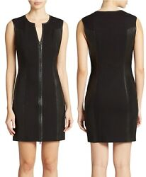 GUESS Stretch Ponte Faux Leather Zip Front Little Black Dress XS MSRP $138 $51.20