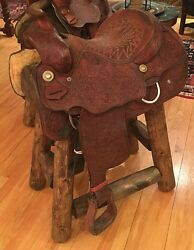 (2) Authentic Western Horse Saddle Bar Stools Barstools Decor Counter Stool Log