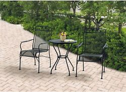 New Black Table and Chairs Seats 2 Outdoor Patio Wrought Iron 3 Piece Bistro