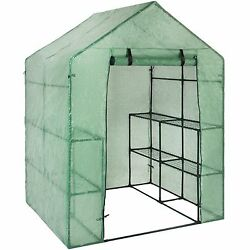 Products Outdoor Portable Garden 2-Tier 8 Shelves Mini Walk-In Greenhouse