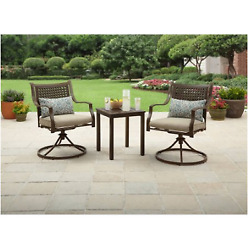 Outdoor Chat Set 3 Piece 2 Swivel Chairs Table Patio Garden Furniture Yard Deck