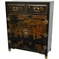 Oriental Furniture Black Lacquer Two Drawer Cabinet