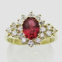 Stunning 9ct Gold Red Gem & CZ Cluster Ring. Size O
