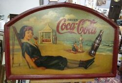 RARE Early 1930 COCA-COLA Wooden decorative shield Advertising Western Europe