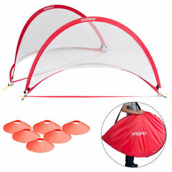 Set of 2 Portable 6' Pop-Up Soccer Goals Set For Backyard w Carrying Bag 6 Cones