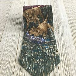 Vintage FIELD & STREAM Necktie Green Maroon Dogs Duck Hunting Pattern 100% Silk