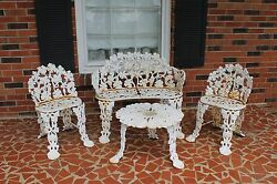 Vintage Victorian Cast Iron Furniture Lawn Patio Set Grapes & Leaves Heavy