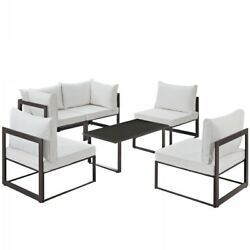 Modway EEI-1726-BRN-WHI-SET Fortuna 6 Piece Outdoor Patio Sectional Sofa Set In