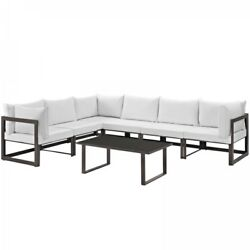 Modway EEI-1737-BRN-WHI-SET Fortuna 7 Piece Outdoor Patio Sectional Sofa Set In