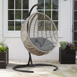Hanging Chair Outdoor Cushion Lounge Seat Patio Wicker Stand Egg Design Swing