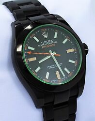 Rolex Milgauss 116400GV Oyster Perpetual PVD Coated Green Crystal Watch *MINT*
