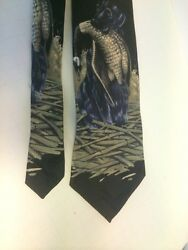 Mens Tie Field & Stream 100% Silk Black Background Black Lab Duck Hunting