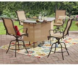 Bar Table Set Outdoor Patio Chairs Large Furniture Counter Height Swivel 4 Seats