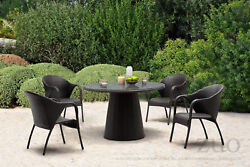 Modern Designer Outdoor Patio Dining Chair Gray Weave Rattan (set of 2) 8986