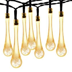 Outdoor Solar Powered 30 LED Light Strings Party Lamp Yard Waterproof Warm White