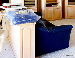 4 Pc Navy Leather Full SLEEPER SOFA SET + CUSTOM RearTableTopStorageRD+Bkcase