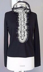 Naeem KhanTop Sweater Jet Black Cashmere White Embroidery XL Exquisite