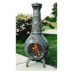 Antique Butterfly Chiminea Fire Pit Tall Patio Cast Iron Outdoor Wood Burning