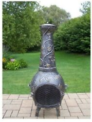 Tall Antique Chiminea Fire Pit 53 In Large Patio Cast Iron Outdoor Wood Burning