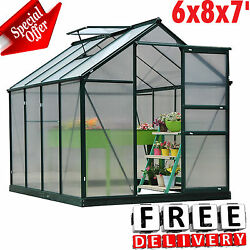 Greenhouse Kit 6x8x7' Portable Walk In Polycarbonate Panel Plant Outdoor Garden