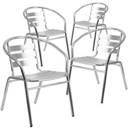 4 Pk. Aluminum Commercial Indoor Outdoor Restaurant Stack Chair with Triple...