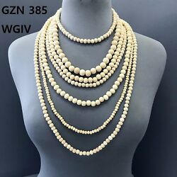 Bohemian Simple Gold Finished Multi Layered Ivory Color Wood Beads Necklace