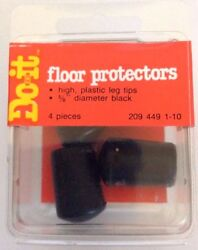 Do it Floor Plastic Leg Tips Protectors Set of 4 Black NEW $9.99