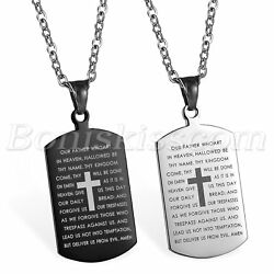 Mens Stainless Steel Cross Crucifix Bible Text Prayer Tag Pendant Necklace Chain