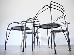 PASCAL MOURGUE 80s 90s BISTRO GARDEN TERRACE PATIO CAFE METAL CHAIRS WITH TABLE