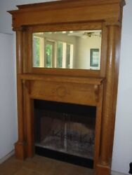 Antique Oak Fireplace Mantel 1890