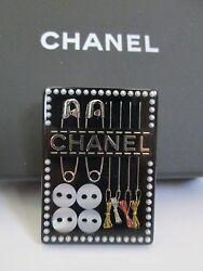 NWT Auth Chanel Sewing Kit Needle Thread Black Lucite Pin Brooch w Box RARE
